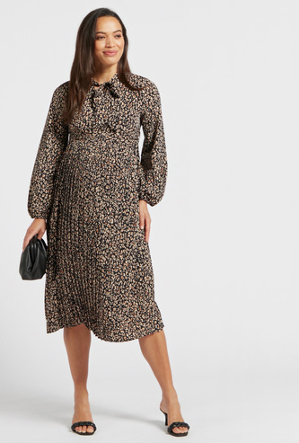 All-Over Floral Print Midi A-line Maternity Dress with Necktie