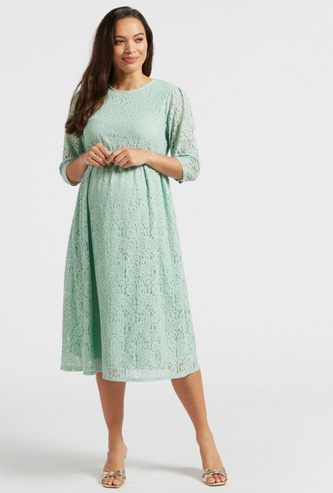 Lace Midi A-line Maternity Dress with Round Neck and 3/4 Sleeves