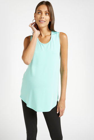 Solid Sleeveless Maternity Vest with Round Neck