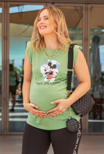 Mickey Mouse Print Round Neck T-shirt with Cap Sleeves