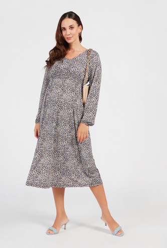 Floral Print Maternity Midi A-line Dress with Long Sleeves