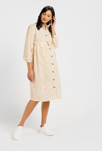 Leopard Print Collared Maternity Shirt Dress