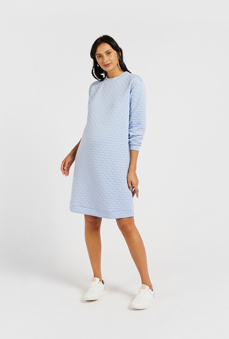 Quilted Maternity Sweatshirt Dress with Long Sleeves