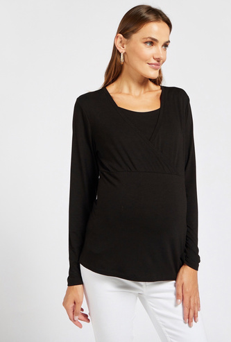 Solid Nursing Top with Round Neck and Long Sleeves