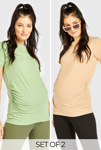 Set of 2 - Solid Maternity T-shirt with Round Neck and Short Sleeves
