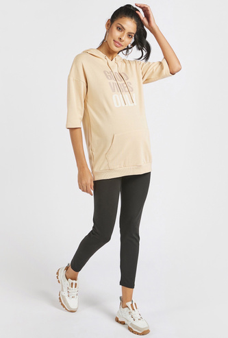 Solid Mid-Rise Maternity Leggings with Elasticated Waistband