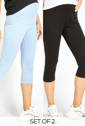 Set of 2 - Solid Maternity 3/4 Leggings with Elasticated Waistband