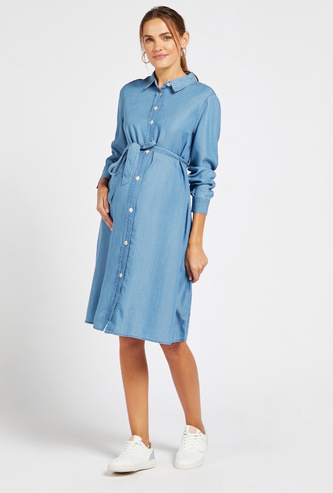Solid Denim Maternity Shirt Dress with Spread Collar and Tie-Ups