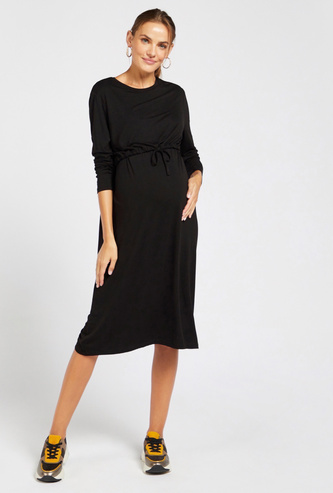 Solid A-line Dress with Long Sleeves and Tie-Ups