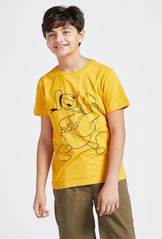 Donald Duck Print Round Neck T-shirt with Short Sleeves