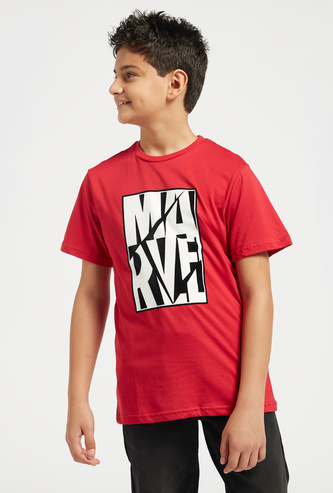 Marvel Print T-shirt with Round Neck and Short Sleeves