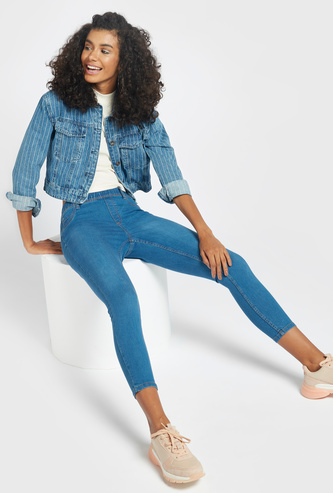 Mid Waist Cropped Jeggings with Elasticised Waistband