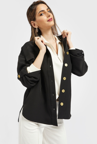Solid Button Down Shacket with Collar and Long Sleeves
