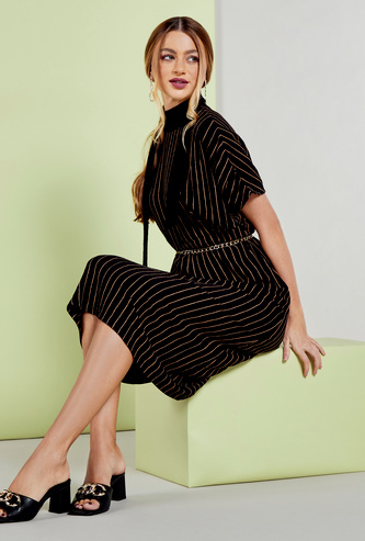 Striped Midi A-line Dress with High Neck