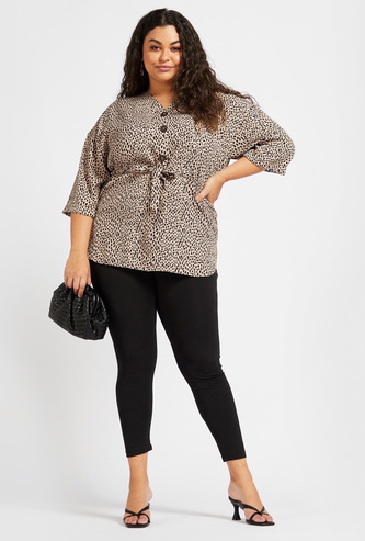 Animal Print V-neck Top with Tie-Ups and 3/4 Sleeves