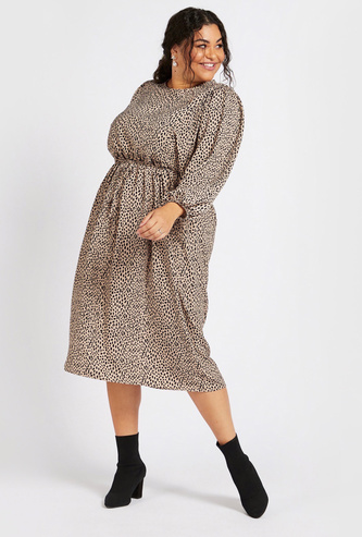All-Over Printed Midi A-Line Dress with Long Sleeves