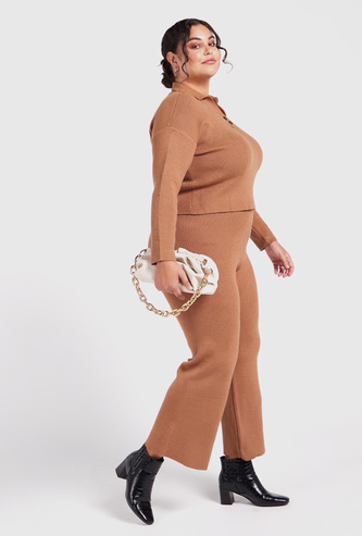 Ribbed Palazzo Pants with Elasticised Waistband