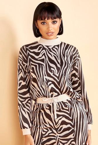 Zebra Pattern High Neck Sweatshirt with Long Sleeves
