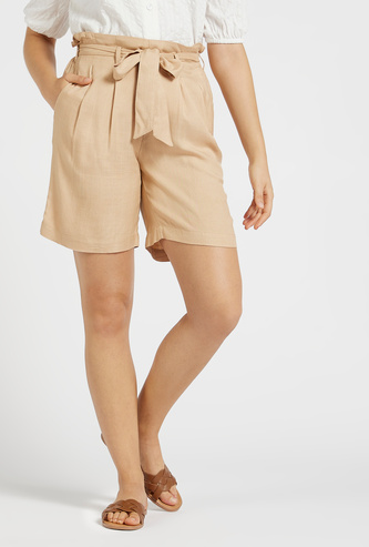 Textured Shorts with Paperbag Waist and Pocket Detail