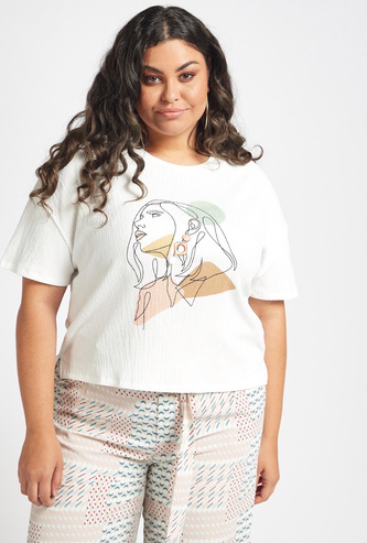 Abstract Graphic-Print Top with Drop Shoulder Short Sleeves