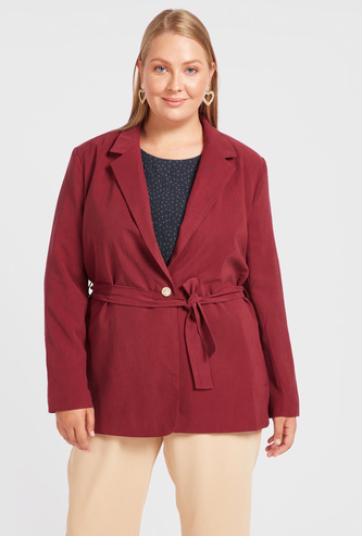 Solid Blazer with Long Sleeves and Belt