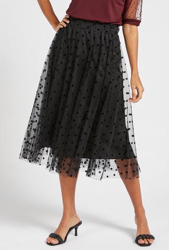 Polka Dots Print A-line Mesh Skirt with Elasticised Waistband