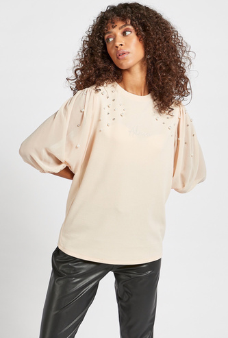 Embellished Slogan Embroidered Top with 3/4 Sleeves