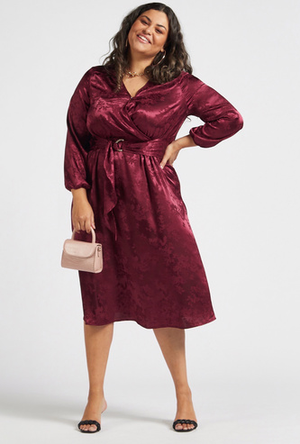Textured Midi A-line Dress with Belt and Long Sleeves