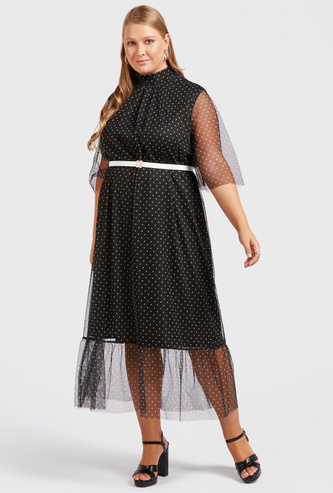 Polka Dots Print High Neck Midi Dress with Short Sleeves and Belt