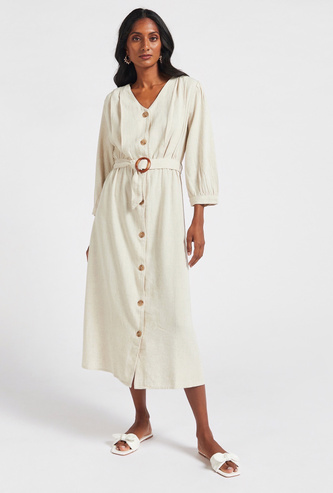 Solid Midi A-line Dress with 3/4 Sleeves and Belt