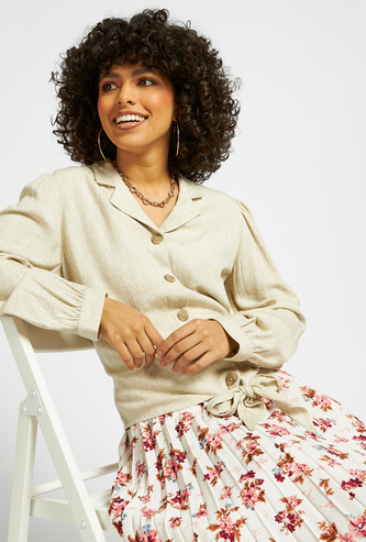 Textured Shirt with Bishop Sleeves and Knot Detail