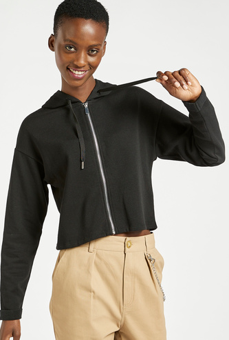 Solid Hoodie with Front Zip Closure and Long Sleeves