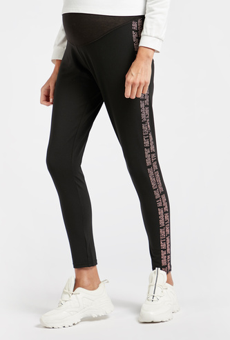 High-Rise Maternity Leggings with Side Print