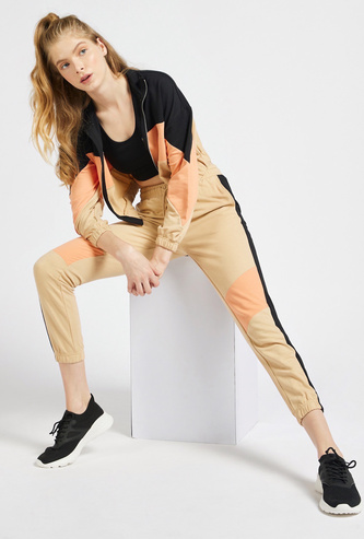 Colour Block Jog Pants with Pockets and Drawstring