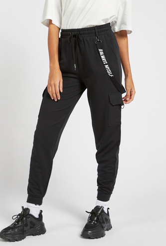 Printed Cargo Jog Pants with Elasticised Waistband and Drawstring