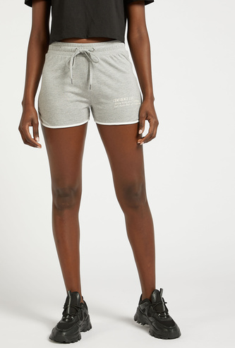 Printed Shorts with Drawstring Closure and Piping Detail