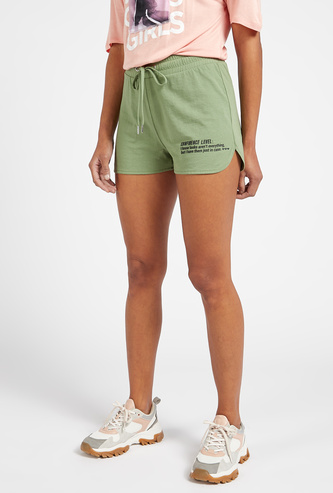 Text Print Shorts with Drawstring Closure