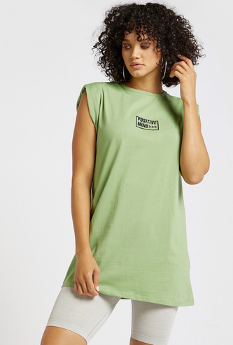 Text Embroidered Sleeveless Longline T-shirt with Round Neck