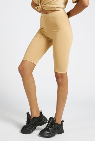 Solid Knee Length Cycling Shorts with Elasticated Waistband