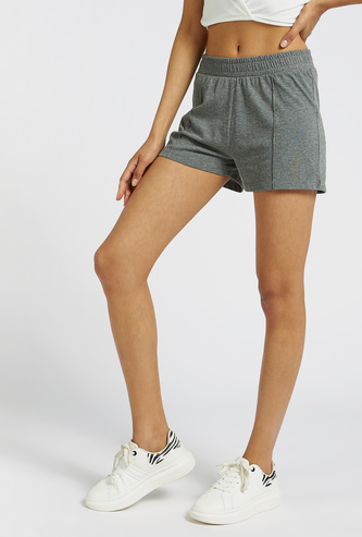 Solid Shorts with Elasticated Waistband