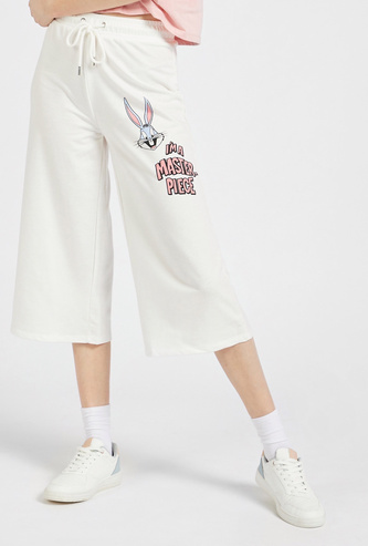 Looney Tunes Graphic Print Culottes with Elasticised Waistband