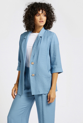 Textured Collared Fluid Jacket with 3/4 Sleeves