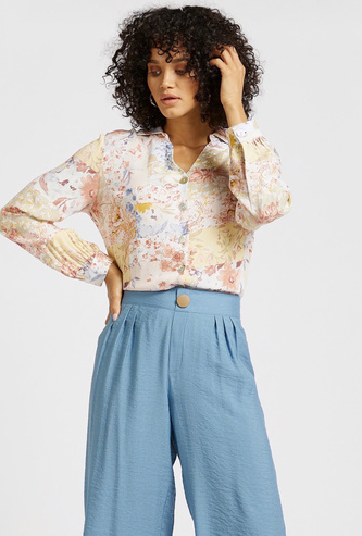Floral Print Shirt with V-neck and Long Sleeves