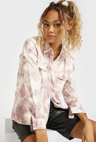 Tie-Dye Print Shacket with Long Sleeves and Pockets