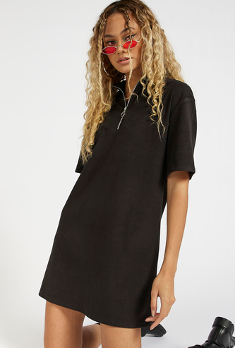 Solid Mini Shift Dress with Zip Detail and Short Sleeves