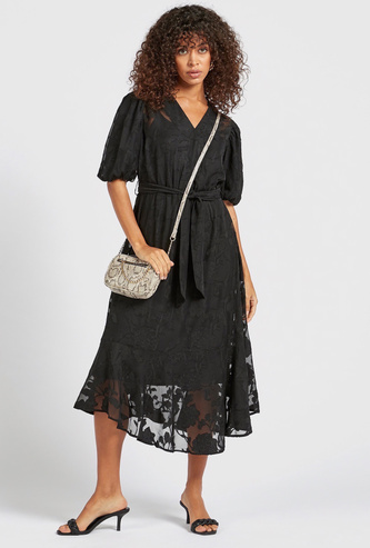 Textured Midi A-line Dress with Short Sleeves and Tie-Ups