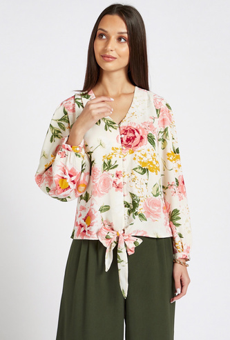 All-Over Floral Print V-Neck Button Through Top with Knot Front