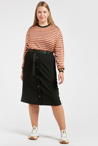 Textured Midi A-line Skirt with Pocket Detail and Belt