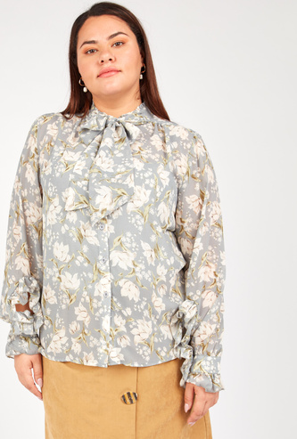 Printed Top with Pussy Bow and Ruffle Detail Long Sleeves