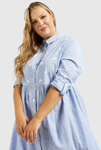 Embroidered Chambray Knee Length Shirt Dress with Long Sleeves